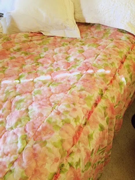Vintage Bedspread Full Sheer Floral Pink