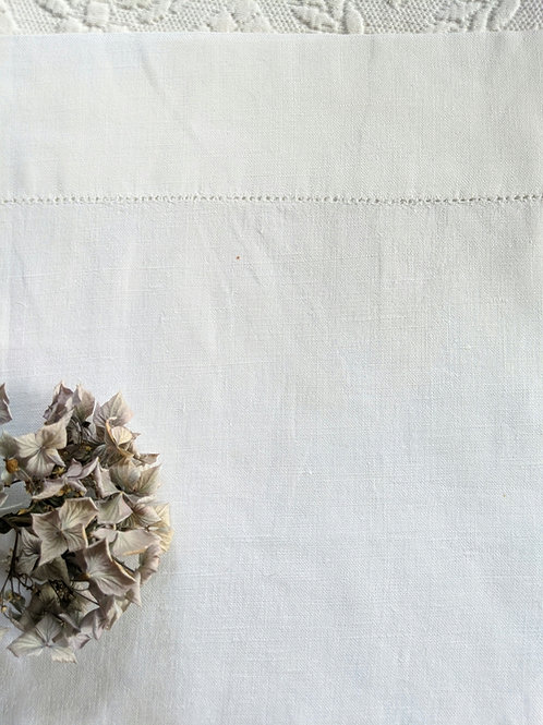 Linen Pillowcase~White Ladderwork Trim  Standard Vintage