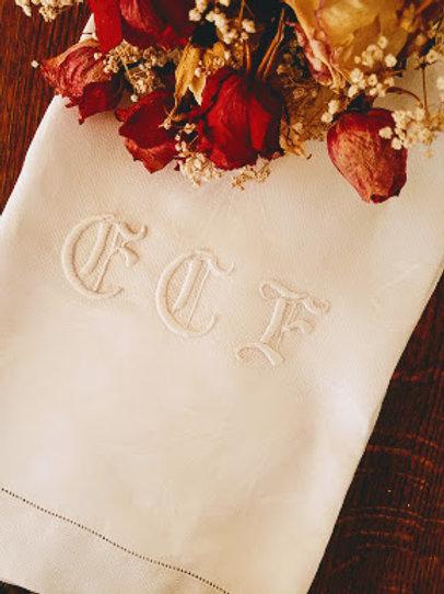 "Vintage Tea Towel~Damask ""CCF"" monogram 24"" x 40"""