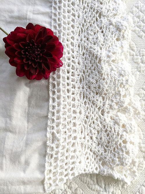 Vintage Sheet Twin Size White Wide Crochet Trim