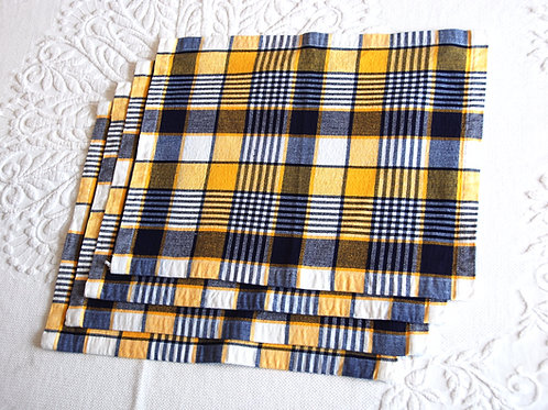 Dansk Plaid Yellow Navy Placemats~ Set of 4
