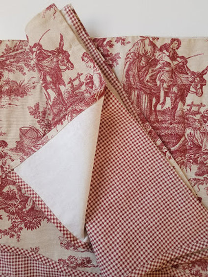 Waverly Valance Cream/Red French Toile Gingham Summer Retreat