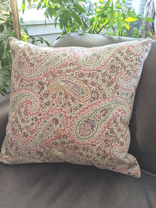 Ralph Lauren Paisley Throw Pillow Red Green Brown Down Insert