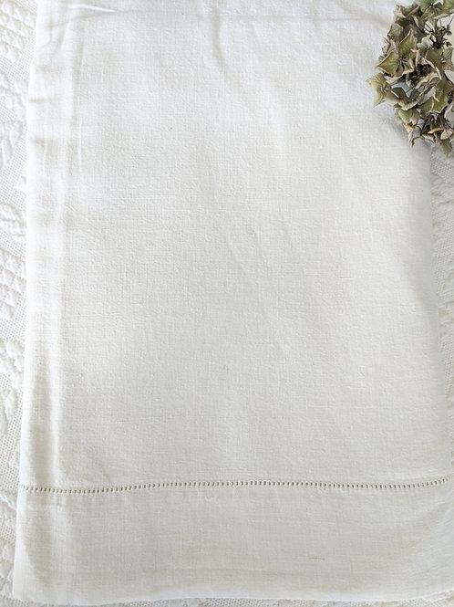 Linen Flax Full Flat Sheet Ladderwork Vintage