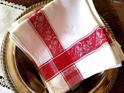 French Red Damask Napkin Monogram 12 Luncheon