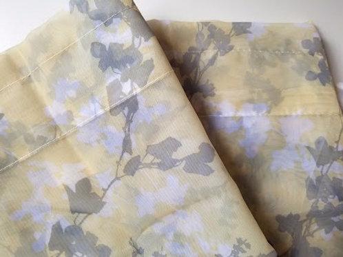 "Laura Ashley Sheer Curtain Panels Floral 84"" x 40"" Pair"
