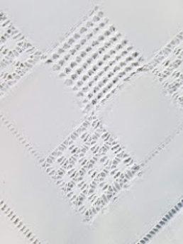 "Vintage White Tablecloth Drawn Work 29"" Square"