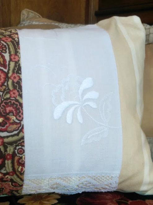 Unique Pillow~Handmade~Cotton Flower Embroidery