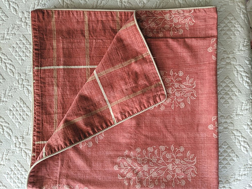 Yves Delorme Red Cream Euro Sham Floral Striped