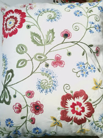 "IKEA Alvine Flora Embroidered Pillow Cover~ 20"" x 24"""