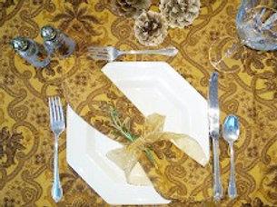 Zina Vasi Tablecloth 4 Napkins Cotton Brown Gold