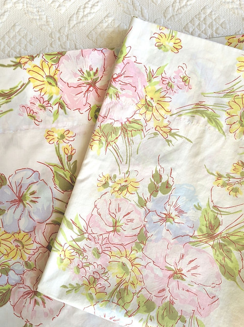 Floral Full Vintage Flat Sheet PEQUOT Percale One Case