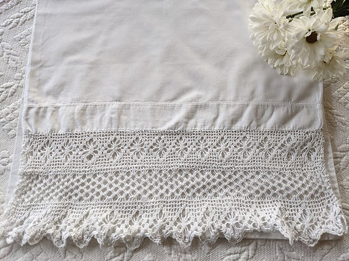 Antique Pillowcase~White Crochet Trim  Narrow