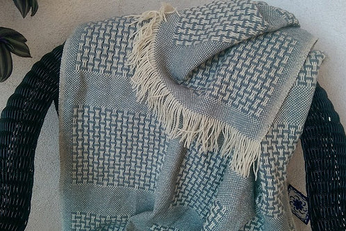 Faribo County Fair Wool Blanket Gray/Cream/Fringed~Ends