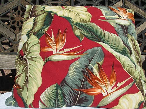 "Bird of Paradise Vintage Bark Cloth Pillow~Reds Greens 18"""