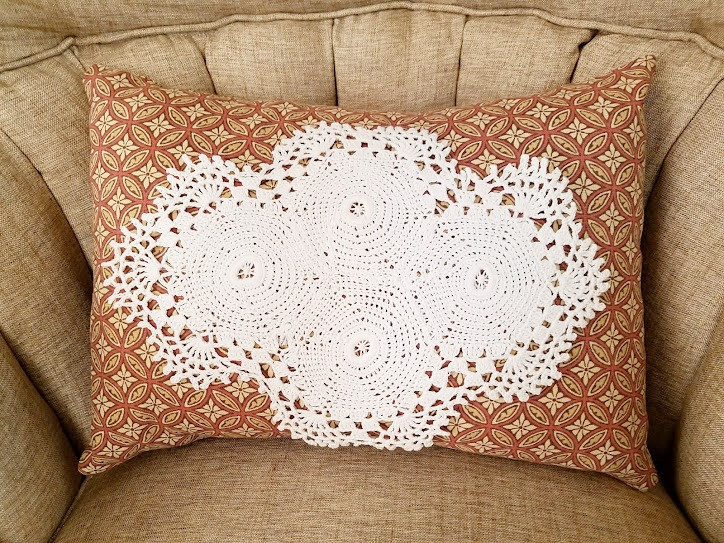 Pillow Crocheted Ivory Doily Handmade Chic Print