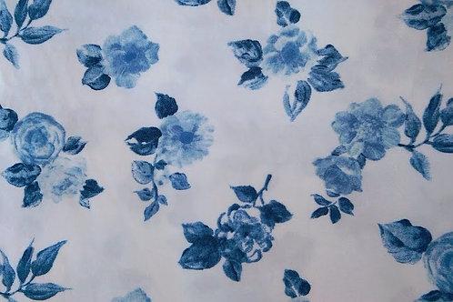 L.L. Bean Duvet~Tw Blue Roses on White Shabby Chic Floral