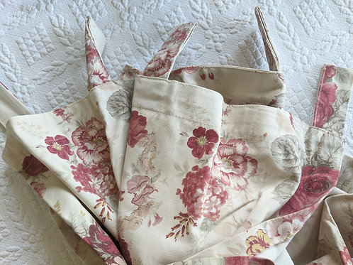 Waverly Tab Top Curtains Panels Vintage Norfolk Rose Garden Room Pair New