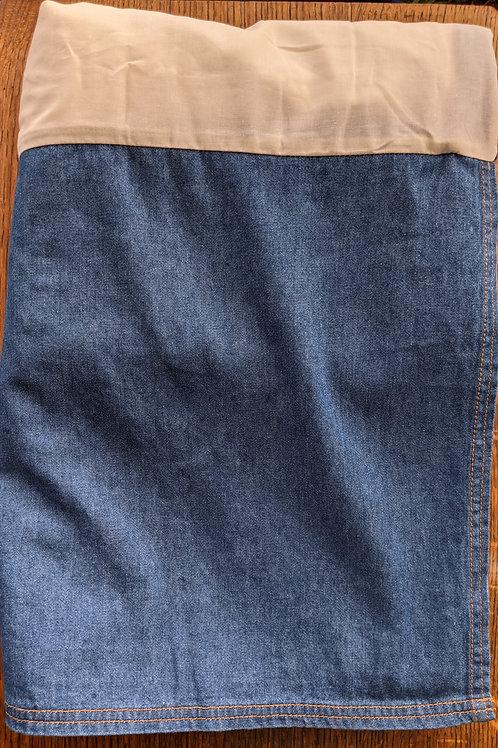 Dockers Dark Blue Denim Full Bed Skirt 100% Cotton Tailored 14.5