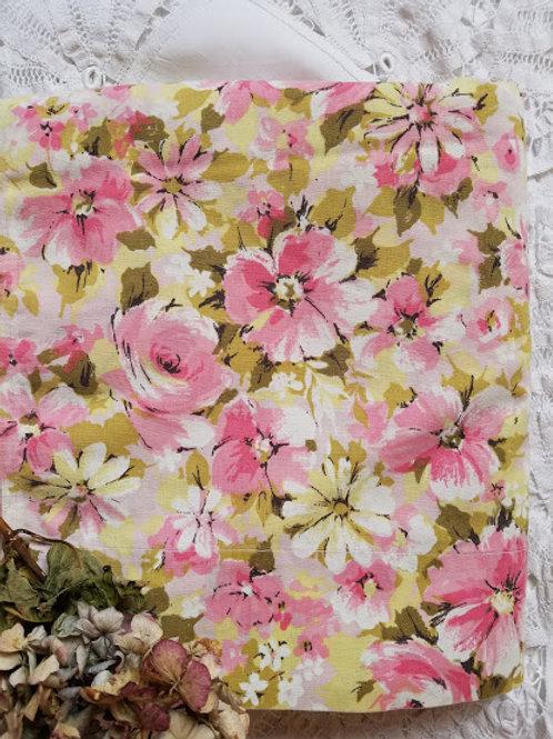 Springmaid Pink Floral Full Vintage Flat Sheet