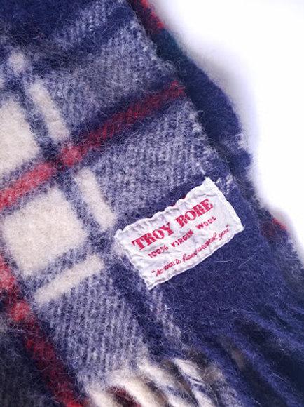 Wool Plaid Blanket TROY ROBE Fringed Red Navy Green Cream
