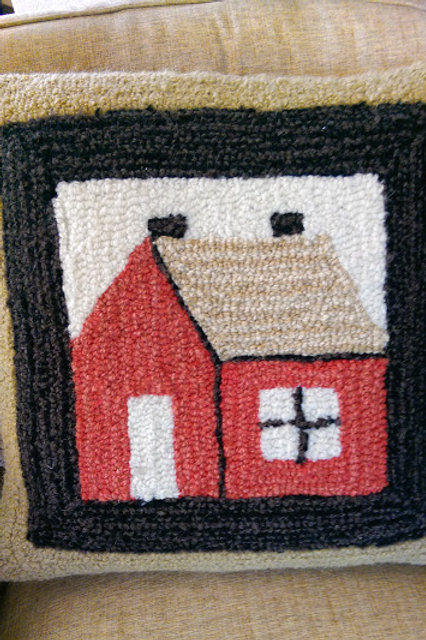 Laura Megroz~Hooked Wool Square Pillow~House- Finished