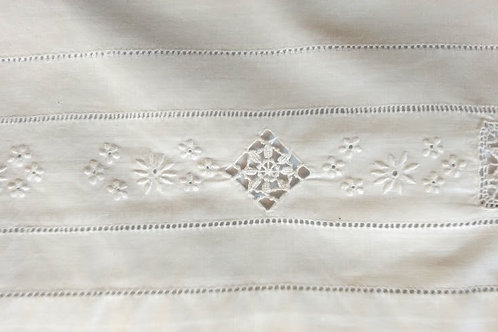 Vintage Pillow Case~Beautiful Floral Embroidery~White