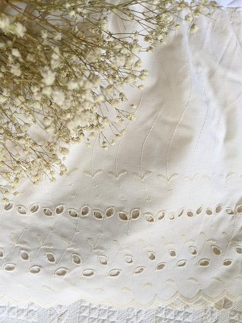 Vintage Chic Eyelet King Bed Skirt Beige Cotton Blend