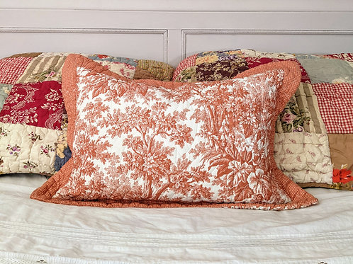 Orange Toile Floral Lumbar Throw Pillow Down Insert