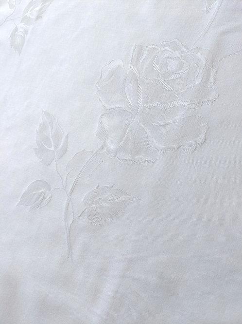 Euro Sham Roses Jacquard Design White Buttoned Vintage