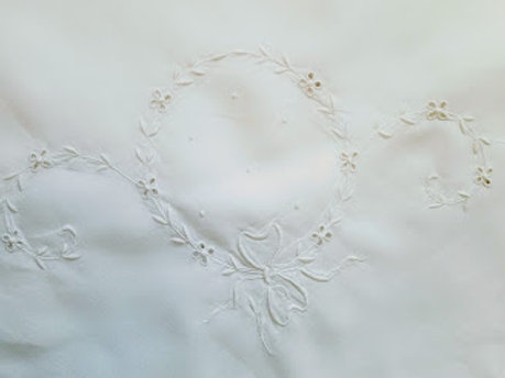 Vintage Tablecloth Linen White on White Floral Embroidery