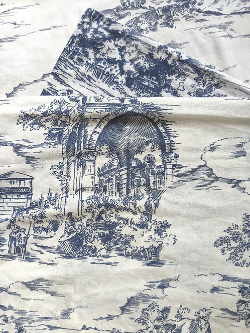 Ikea Emmie Land Full Duvet Sham Pair Blue Toile Cotton French Country
