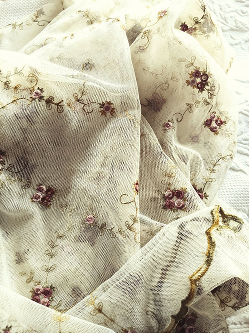 Spring Blossom Sheer Embroidered Ecru Red Pink 88x50