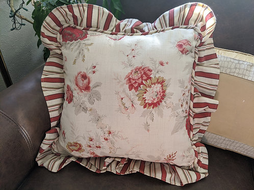 "Waverly Norfolk Red Rose Floral ~ Throw Pillow ~15"" Square"