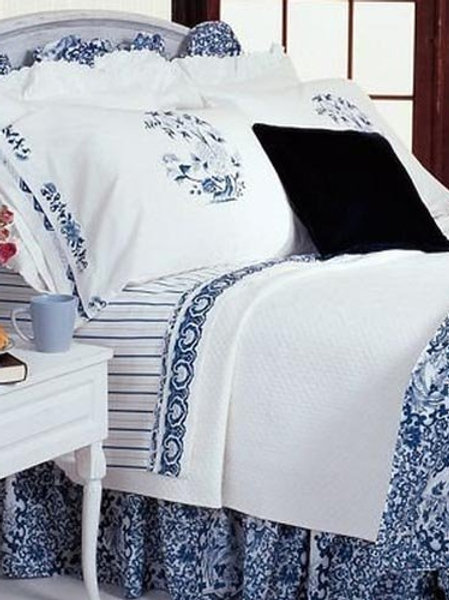 Ralph Lauren Twin Tamarind Bed Skirt Blue Birds
