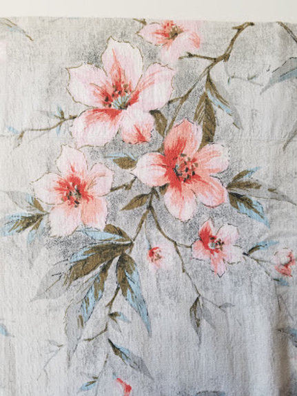 "Vintage Bark Cloth Curtain Panel~Floral~56""L x 62""W~Cotton"