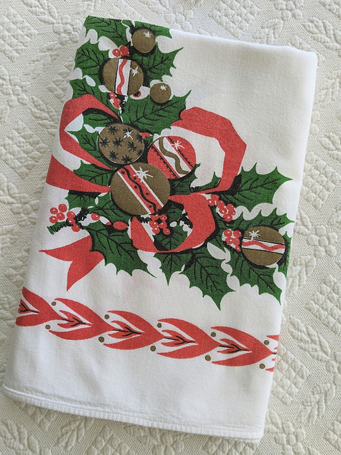 "Christmas Holiday Red Green on White Tablecloth - Vintage - 60"" x 54"""