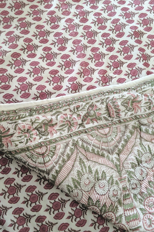 Pottery Barn Quilted Standard Pillow Sham Pair Batik Cream Pink Green