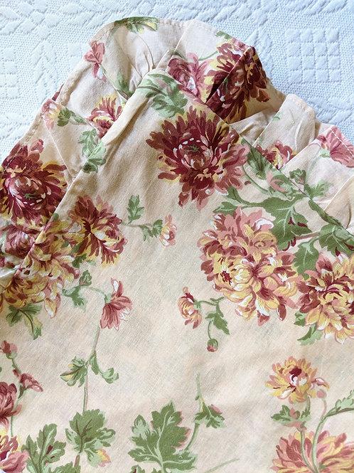 Floral Cotton Euro Sham Pair Ruffled Cotton
