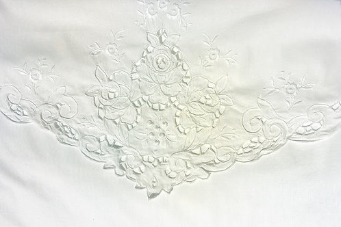 Embroidered Envelope Sham Pair~Std.~White Cotton