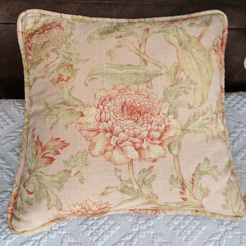 Pink Floral Linen Throw Pillow Down Insert 14""
