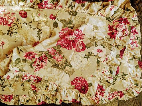 Custom Floral Ruffled King Shams~Pair~Cotton~Tan Pink Green