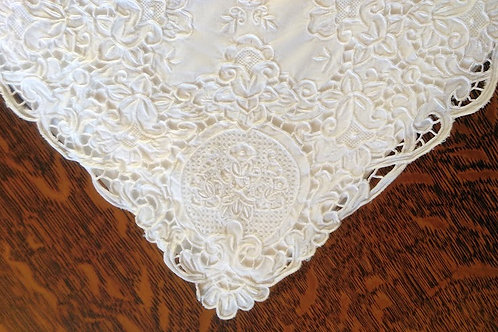 Cutwork White Embroidered Cotton Sheet~Full Size~Fantastic!
