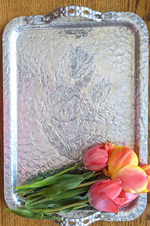 Vintage Hand Hammered Aluminum Large Tray with Tulips Mid Century