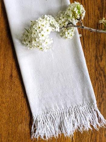 Antique Linen Hand Towel Pair Floral Damask Fringed 49 x 26