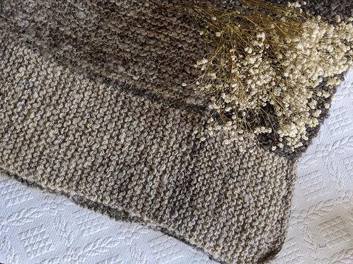 Hand Knit Throw Brown Tan Soft!