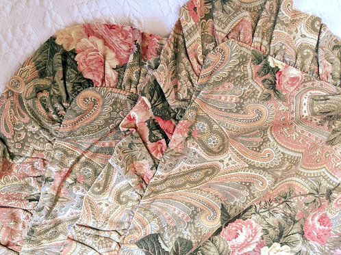 Waverly Standard Sham Pair Floral Rose Paisley Ruffle Sage Pink Shabby Chic