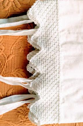 Monogrammed Vintage Pillowcase Crochet Trim Ties
