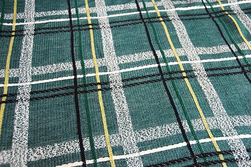 Bates Vintage Twin Plaid Bedspread Green Black White Gold