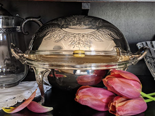 Antique Mappin & Webb English Prince's Plate Silver Chafing Warming Dish